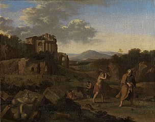 Italianate mountain landscape with Abraham and Isaac on their way to the place of sacrifice