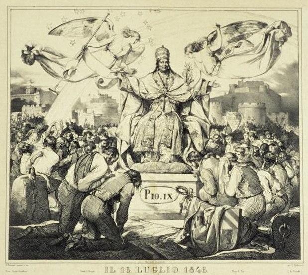 Cornienti Giuseppe - allegoria del 16 luglio 1846 con Pio IX in trionfo -litogr -1846