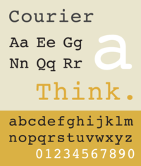 A sample of the typeface Courier, a slab serif face based on strike-on typewriting faces.
