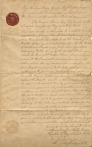 Courts-martial in the United States - Court Martial of William Seeds, 1778