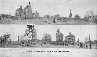 Creagerstown, Maryland - Postcard from 1914 showing the destruction caused by the fire.