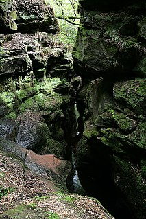 Crichope Linn waterfall in Dumfries and Galloway, Scotland, UK
