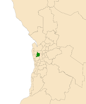 Electoral district of Croydon (South Australia) - Electoral district of Croydon (green) in the Greater Adelaide area