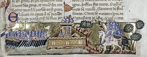 Medieval miniature showing a fortress assaulted by riders on the right and a fleet of galleys on the left