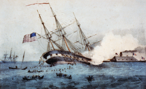 The sinking of Cumberland by the iron-clad Virginia.