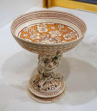 Saint-Porchaire ware - Image: Cup, Saint Porchaire pottery, France, c. 1540 1550, lead glazed earthenware Waddesdon Manor Buckinghamshire, England DSC07722
