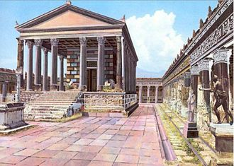 Pompeii - Illustrated reconstruction, from a CyArk/University of Ferrara research partnership, of how the Temple of Apollo may have looked before Mt. Vesuvius erupted