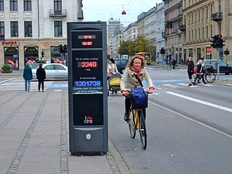 Traffic count - Bike counter with display showing the number of bikes on the particular day and accumulative for the year, for one bike lane in Copenhagen.