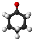 Ball-and-stick model of cyclohexanone