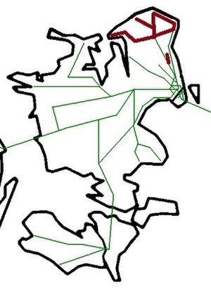 Lokalbanen - Map showing Lokalbanen lines in brown.