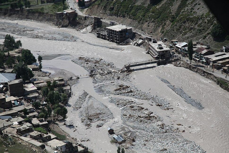 Damaged bridge from flooding in Pakistan, 2010