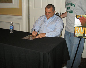 Rudy Ruettiger - Ruettiger signing autographs after speaking at Ohio University, January 2010