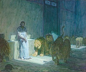 Cultural depictions of lions - Daniel in the Lions' Den, by Henry Ossawa Tanner