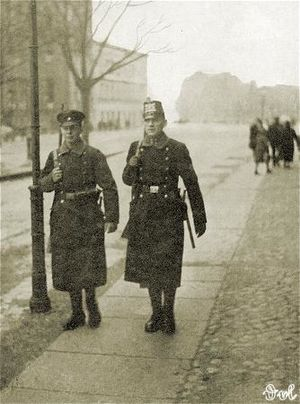 Free City of Danzig Police - Danzig police officers in winter coats.