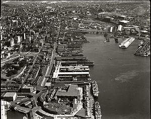 Barangaroo, New South Wales - Aerial view of the wharves in 1937