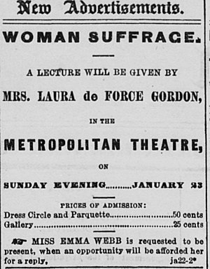 Laura de Force Gordon - Advertisement in the San Francisco Daily Alta for a talk on suffrage given by Gordon in 1870.