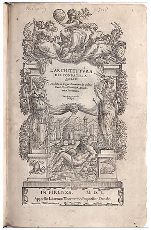 De Re Aedificatoria - Title page of 1550 edition, Florence
