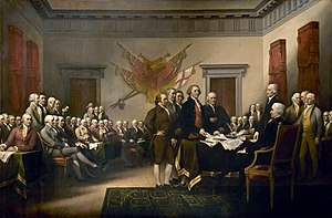 John Hancock - In John Trumbull's famous painting The Declaration of Independence, Hancock, as presiding officer, is seated on the right as the drafting committee presents their work.