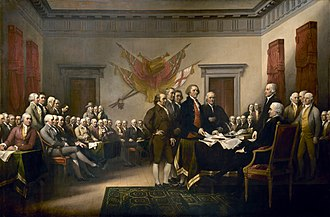 Robert R. Livingston (chancellor) - Of the five figures standing in the center of John Trumbull's 1817 painting Declaration of Independence, Thomas Jefferson is depicted in front of the Committee of Five, presenting the draft Declaration to the Second Continental Congress standing next to Benjamin Franklin.  The three prominent figures standing just behind them are, from left to right, John Adams, Roger Sherman, and Robert R. Livingston.