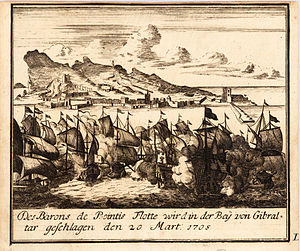 Bernard Desjean, Baron de Pointis - Attack of Gibraltar by the Baron de Pointis' fleet