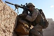 Defense.gov News Photo 101101-M-6340O-058 - U.S. Marine Corps Lance Cpl. Steven J. Zandstra provides security at a checkpoint in Sangin Helmand province Afghanistan on Nov. 1 2010