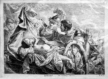 Alexander covers the corpse of Darius with his cloak (18th-century engraving) Den Leichnam des Darius.jpg