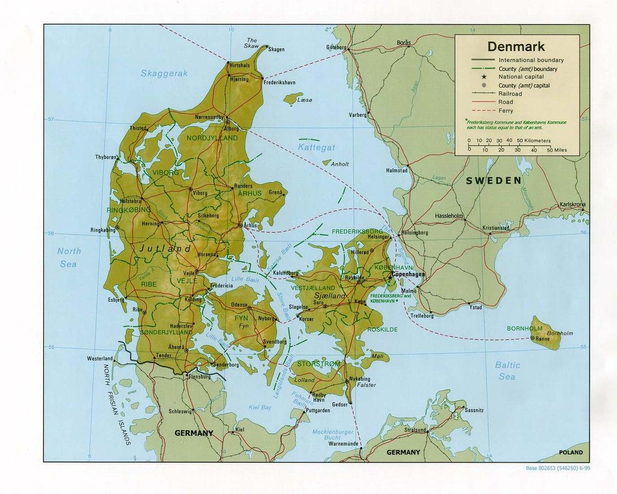 Cartina Muta Germania Fisica.Geografia Della Danimarca Wikipedia