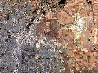 Denver metropolitan area - Satellite image of the core of the Denver–Aurora–Lakewood, CO Metropolitan Statistical Area