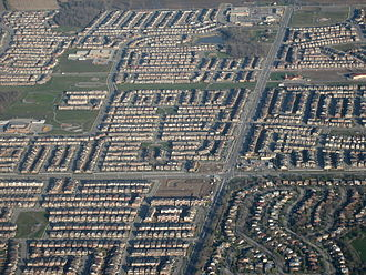 Urban sprawl - Sprawl in Milton, Ontario. This photograph is an example of Canadian suburban development.