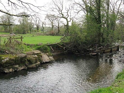 Destroyed footbridge on River Llan near Ystrad Isaf - geograph.org.uk - 2368733