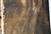 Detail Grabplatte Franz Edmund Joseph Ignaz Philipp Bartholomaeus Freiherr von Schmitz Grollenburg Königlich Preußischer Regierungspräsident 1776 1844.jpg