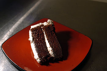 Devil's food cake with vanilla bean icecream.