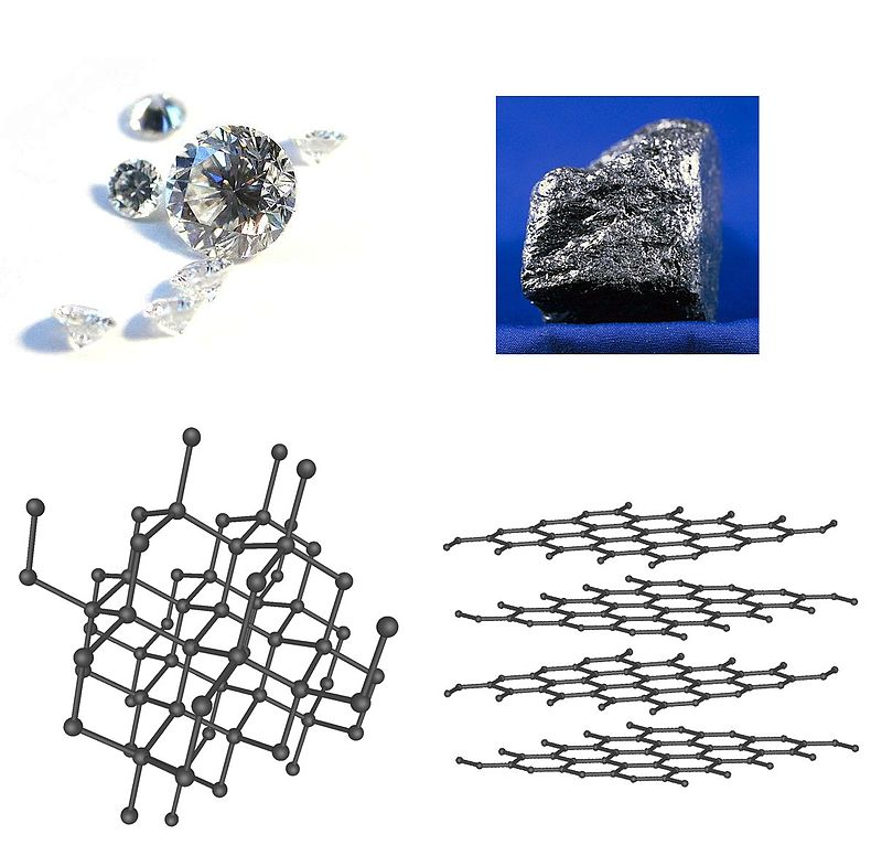 On the top is a diamond and a piece of graphite. On the bottom are their crystal structures.