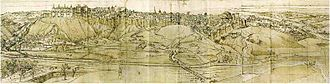 Madrid - View of Madrid from the west, facing the Puerta de la Vega. Drawing by Anton van den Wyngaerde, 1562.