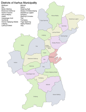 Administrative divisions of Aarhus Municipality - Districts of Aarhus Municipality