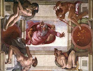 Separación de los cielos y la tierra. Miguel Ángel, Capilla Sixtina.