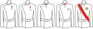 Colonial Order of the Star of Italy - Wearing style of the insignia of the various classes of the Colonial Order of the Star of Italy.