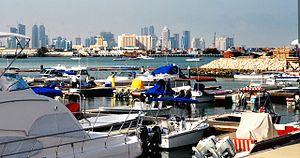 Blick auf die West Bay von Doha