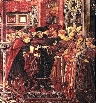 Oriental carpets in Renaissance painting - Image: Domenico di Bartolo The Marriage of the Foundlings 1440