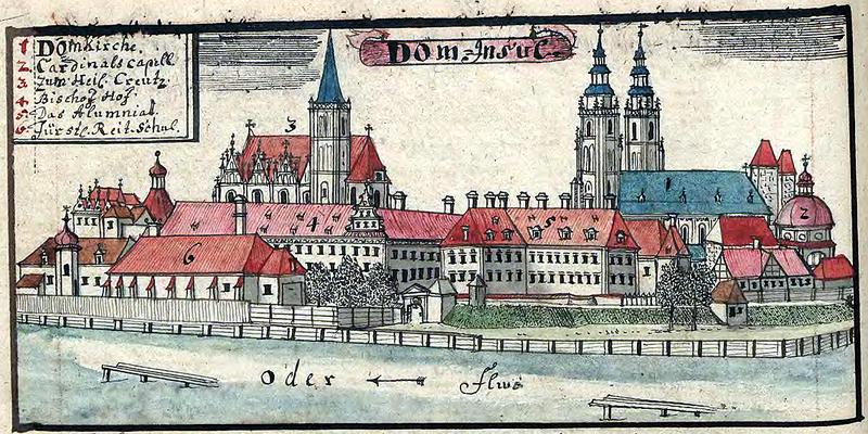 L'île de la cathédrale à Wroclaw par Friedrich Bernhard Werner au 18e siècle.