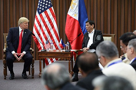 Duterte with U.S. President Donald Trump in Manila, November 13, 2017 Donald Trump and Rodrigo Duterte in Manila (3).jpg