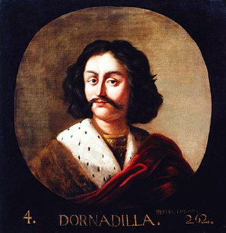 Legendary kings of Scotland - Dornadilla, fourth legendary king according to George Buchanan; painting by Jacob Jacobsz de Wet the Younger in the commission from Charles II for Holyrood Palace.