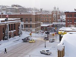 Winter in Houghton, Michigan. The post office can be seen at the left.