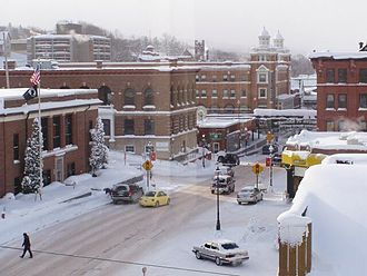 Houghton, Michigan - Winter in Houghton, Michigan. The post office can be seen at the left.