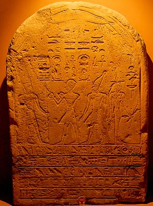 Wosret - Rare image of Wosret, the figure to the right on a dual stela of pharaoh Hatshepsut (centre left) in the blue Khepresh crown offering oil to the deity Amun and her nephew who would become Thutmose III behind her in the hedjet white crown - Vatican Museum
