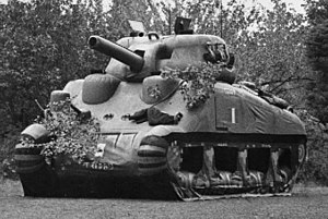 Psychological warfare - A dummy Sherman tank, used to deceive the Germans.