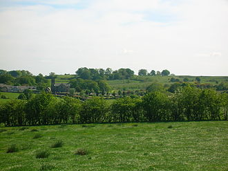 Dunlop kirk and village from the Thurgartstone Dunlop Church Ayrshire.JPG