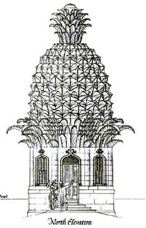 Dunmore Pineapple - North elevation of the cupola. Note how the pavilion, which is well above ground level when approached from the south, may be entered at ground level from the north.