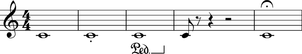 Duration example with length, articulation, and pedal