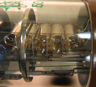 Photomultiplier tube - Dynodes inside a photomultiplier tube